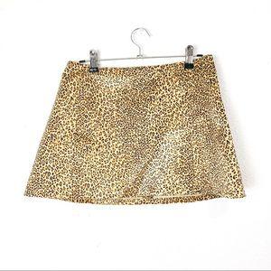 Vintage 1990s velvet leopard print mini skirt S